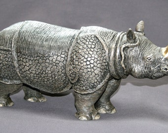 "Rhinoceros Bronze Sculpture ""Indian Rhinoceros"" Asian Rhino Figurine Statue African Art / Limited Edition / Signed & Numbered"