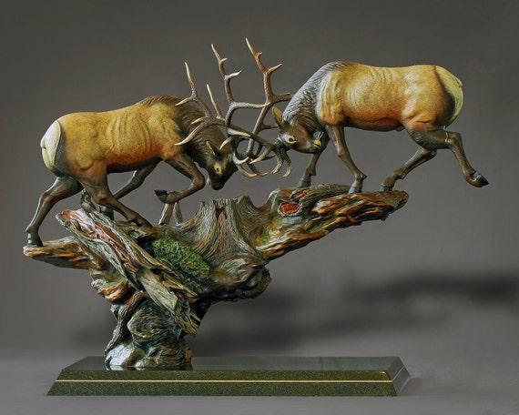 "BRONZE ELK ""Royal Conflict"" Sculpture by Barry Stein"