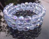 30 pcs 8mm Czech Light Sapphire Faceted Beads with AB coating