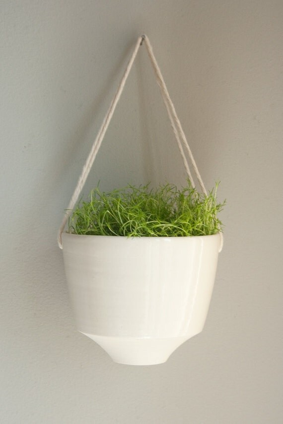 Angled --porcelain and cotton rope hanging planter