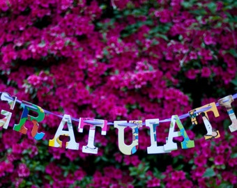 Congratulations -- Board Book Garland - Handmade - Made in the USA - Personalized - Celebration - Wedding - Baby Name
