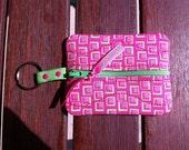 Hot Pink Zipper Coin Purse Keychain