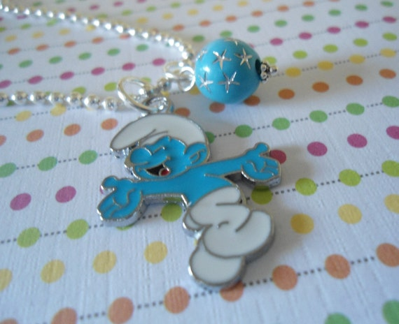 Blue Smurf charm Child Necklace charm cute party favors Free Shipping