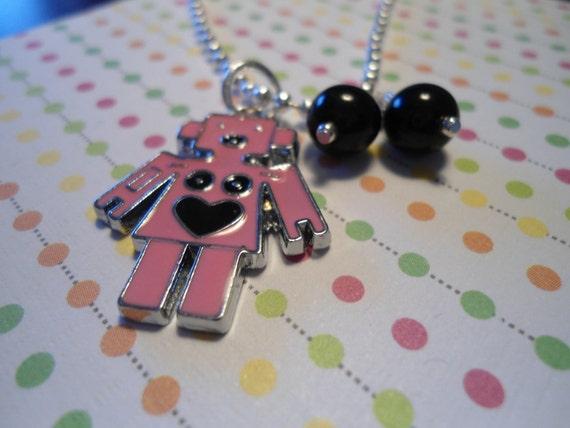 Pink LOVE Robot charm child Necklace charm Free ship STOCKING  stuffer