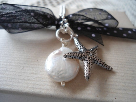 Sweet Sterling Silver Necklace Freshwater PEARL and Starfish for Junior Bridesmaid gift Beach Wedding