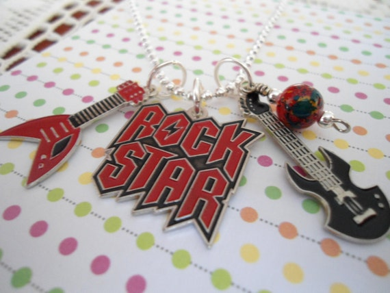 Rock Star Guitar charm Kids BOY necklace PARTY Favors Free shipping