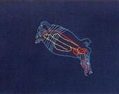 SALE - Original Textile Art - Hand Embroidered Sea Cucumber - Animal Art