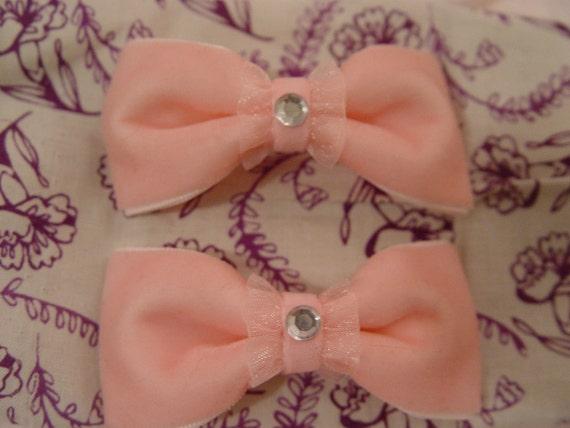 SALE Light Pink Velvet Rhinestone Bow - Set Of Two