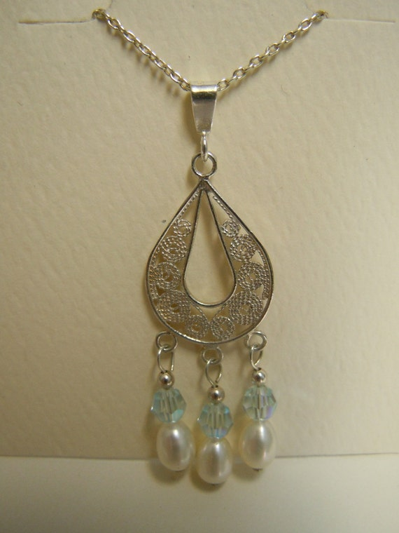 Sterling Silver Filigree Teardrop Dangle Pendant With Blue Crystal Beads and Freshwater Pearls