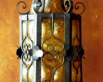 Rare Mexican Craquelle Glass and Wrought Iron Light Fixture Hand Blown