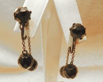 Drop Earrings Double Hand Cut Jet Drops Clip Style