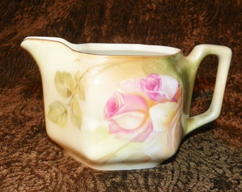 Creamer 19th Century RS Germany Hand Painted Rose Motif