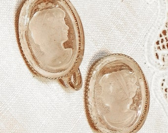 Cameo Style Earrings Clear Lucite Oval for Theatrical Use