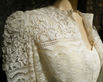 Second Wedding Dress & Jacket Beautiful Ivory Lace and Woven Ribbon by Designer Gregg Adams in Size 8