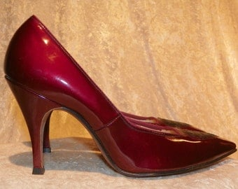 Shoes in Deep Ruby by Life Stride Patent Leather Heels Front Detail 7AAA