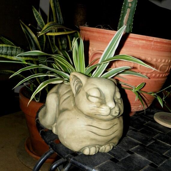 1970s Fat & Happy Cat Ceramic Planter