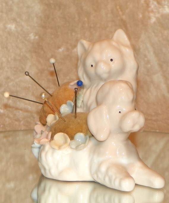 Vintage China Poodle and Cat Pin Cushion