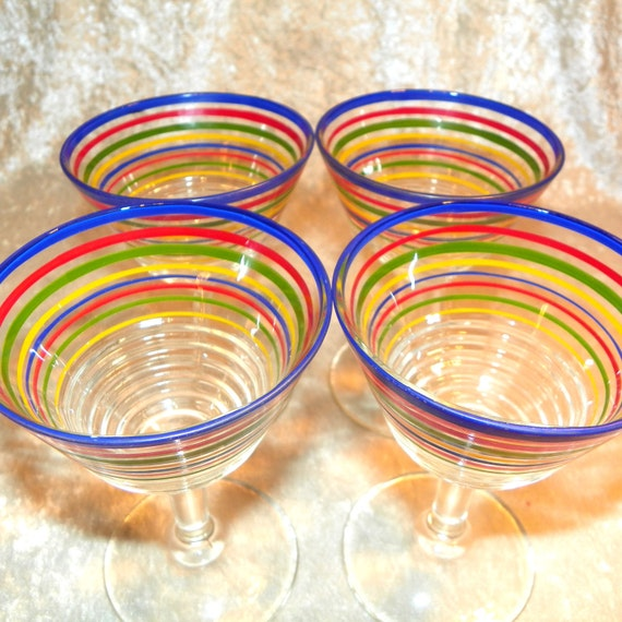 Ringed / Striped Goblets in Primary Colors 4 Piece Set