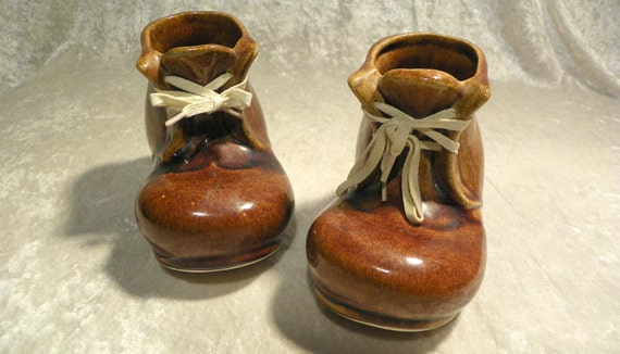 Pair Old Lace Up Work Boots Ceramic Planters