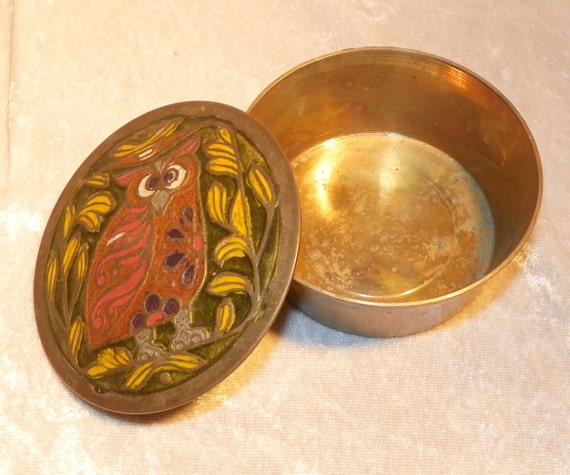 Solid Brass Round Trinket Box Enamel Owl Design India