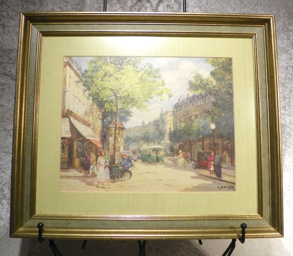 Rare Therese Darche Matted Framed Parisian Street Scenes Print Set