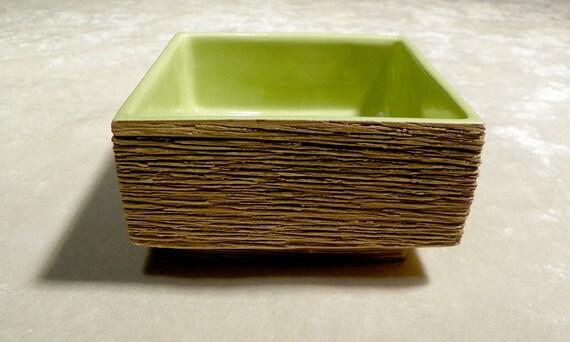 Vintage Stahl Pottery CA Ikebana Vase Chartreuse Interior