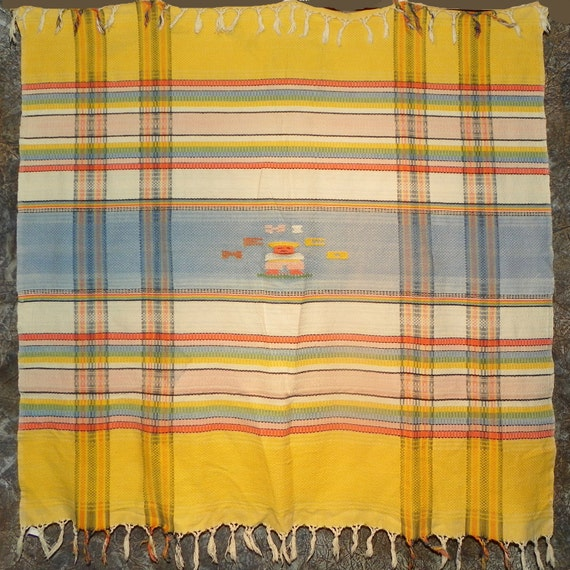 "Reserved for Karen - Colorful MEXICO Tablecloth with Fringe 46"" x 47"""