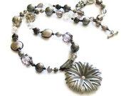 Silver flower long beaded necklace handmade