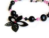 Black flower beaded necklace handmade