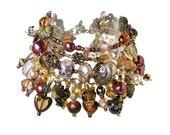 Brown beaded charm bracelet 'Country Chic' handmade
