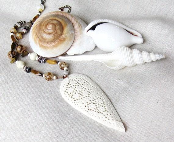 Beaded necklace Ivory pendant handmade