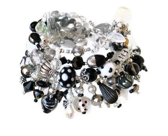Black and white bead charm bracelet handmade