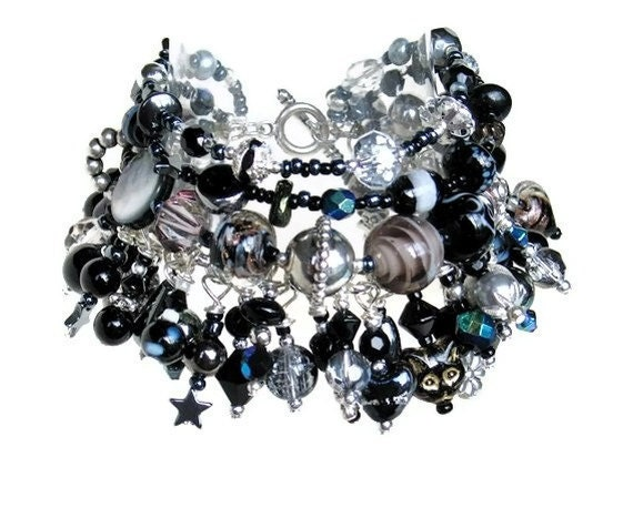 Reserved for Mica of Bunya Black silver beaded charm bracelet handmade