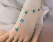 Blue and White Foot Jewelry: Barefoot Sandals, Beach Sandals, Destination Wedding, Bride Jewelry