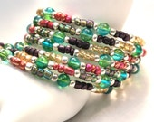Memory Wire Beaded Bracelet: Multi Colored, Green, Blue, Pink, Plum, Yellow, Memory Wire, Versatile Bracelet, Fun Bracelet