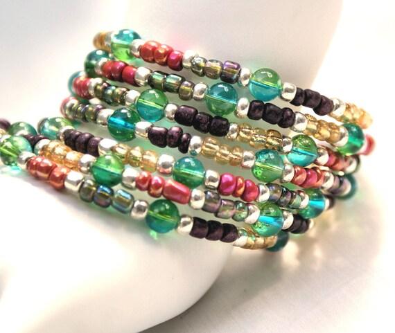 Memory Wire Beaded Bracelet: Multi Colored, Green, Blue, Pink, Plum, Yellow, Memory Wire, Versatile Bracelet, Fun Bracelet