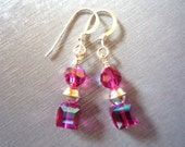 Hot Pink Earrings, Swarovski and Sterling Silver Earrings, breast cancer awareness earrings