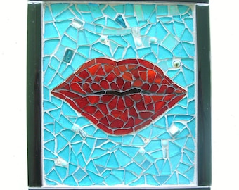 Kiss Me Mosaic Valentines Day red lips turquoise glass