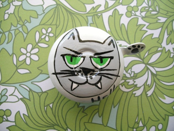 Bike Bell Hello Kitty Cat Green Eye Vampire Hand Painted