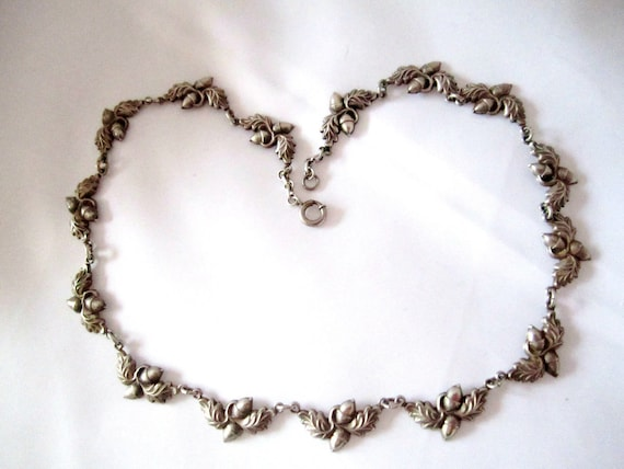 Danecraft Sterling Acorn Necklace 1940s Rare  Vintage Jewelry Gift