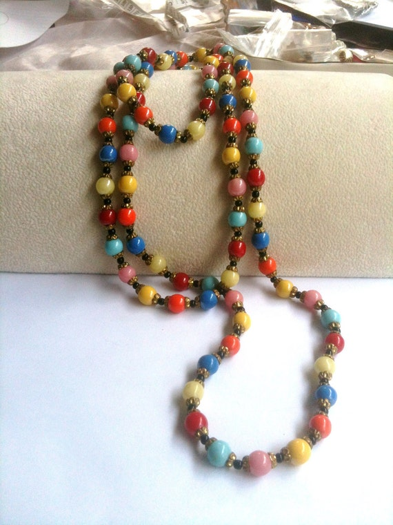 Art Deco Harlequin Bead Necklace Flapper 1920s Vintage Jewelry Great Gatsby