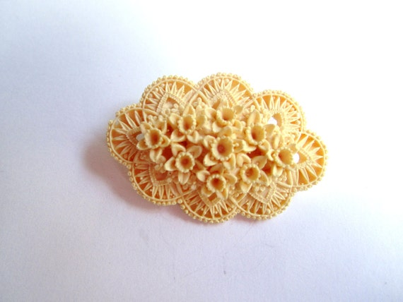 Art Deco Brooch Carved Celluloid Flower 1930s Vintage Jewelry Great Gatsby
