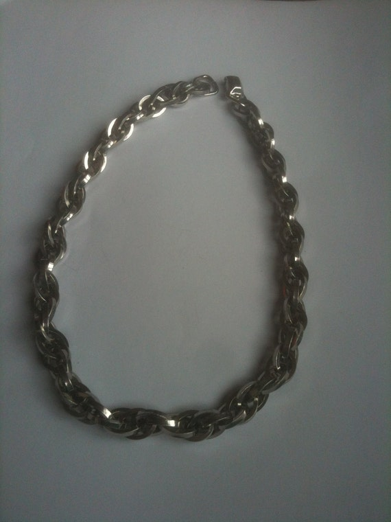 Coro Pegasus Silver Tone Heavyweight Choker Necklace 1950s Vintage Jewelry