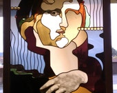 Mona Lisa stained glass panel
