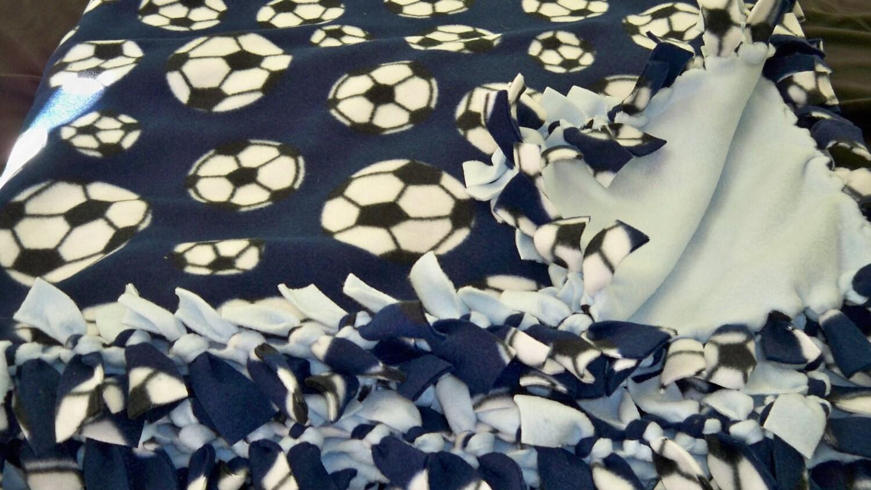 Tie Blanket Blue Soccer Fleece