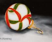 Christmas glass ornament original oil painting