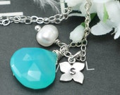 Personalized Necklace, Beach Wedding, Blue Chalcedony and Letter Charm, Hand Stamped, Wedding Jewelry, Wedding Gifts