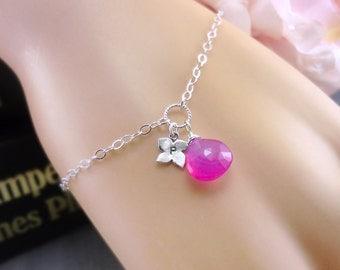 Personalized Bracelet, Custom Birthstone, Hot Pink Chalcedony, Initial Bracelet, Sterling Silver, Pink Chalcedony, Adjustable