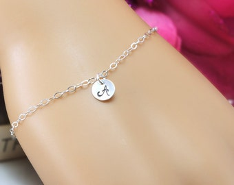 Monogram Initial Bracelet, Bridesmaid Gift, Single letter charm, Personalized Initial Bracelet, Bridal Jewelry, Hand Stamped, Adjustable