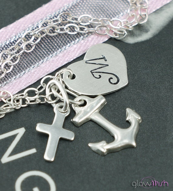 Love, Hope, Faith Necklace, Custom Initial, Hand Stamped, Personalized Necklace, Anchor, Cross, Heart